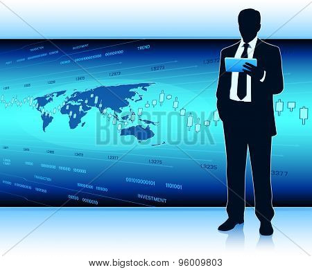 Businessman With Tablet Computer Analyse Financial Data