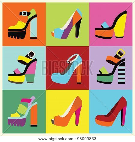 Retro pop art women platform high heels poster