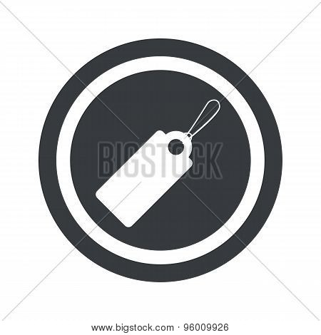 Round black string tag sign