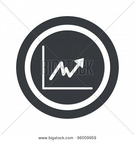 Round black rising graphic sign