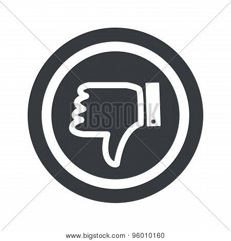 Round black dislike sign