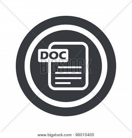 Round black DOC file sign