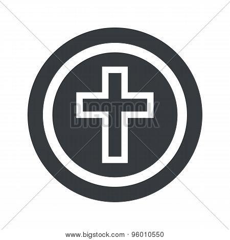 Round black christian cross sign