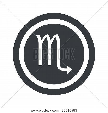 Round black Scorpio sign
