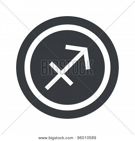 Round black Sagittarius sign
