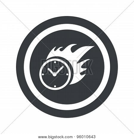 Round black burning time sign