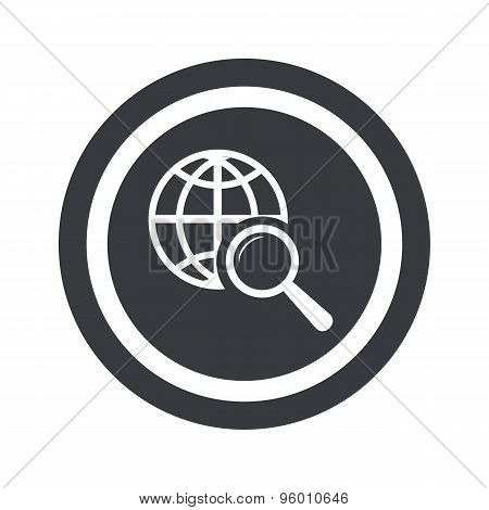 Round black global search sign