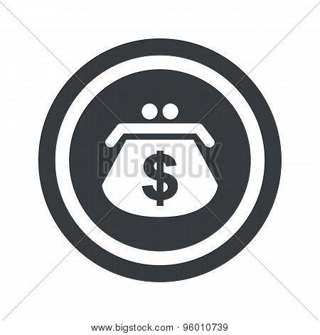 Round black dollar purse sign