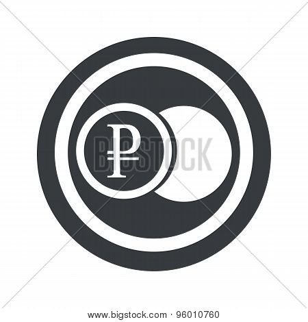 Round black ruble coin sign