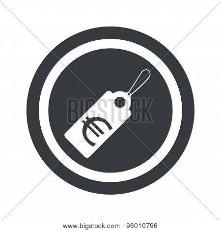 Round black euro price sign