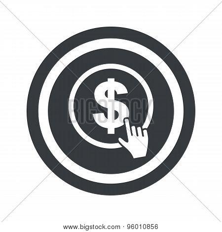 Round black dollar click sign