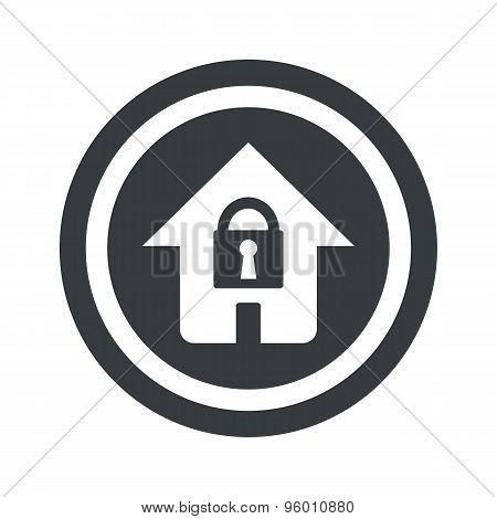 Round black locked house sign