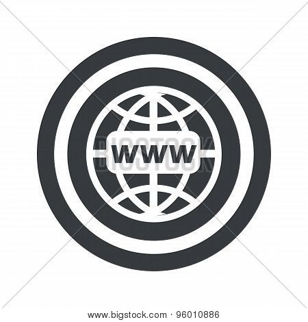 Round black global network sign