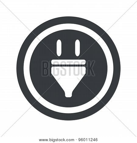 Round black plug sign