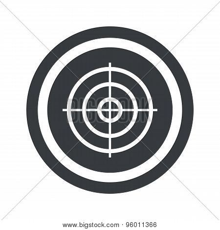 Round black aim sign