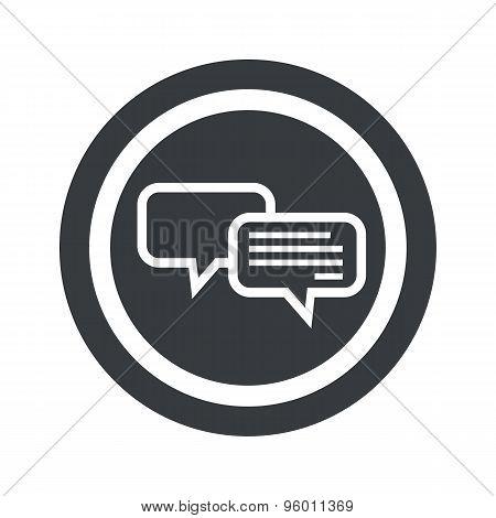 Round black chatting sign