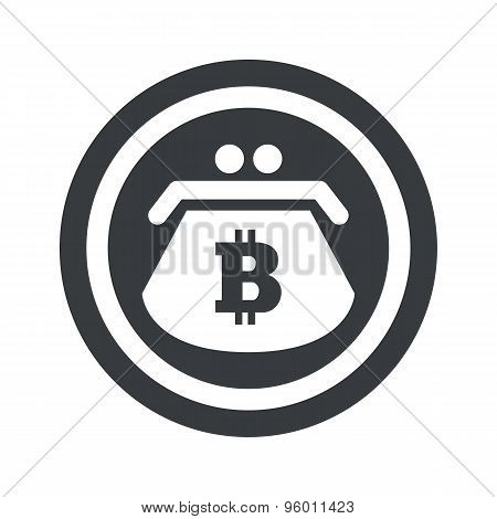 Round black bitcoin purse sign
