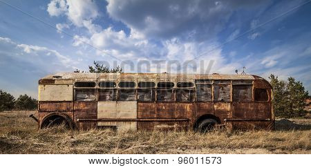 Chernobyl - Abandoned Bus In A Field