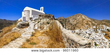 authentic Greece- Serifos island, view of Hora village. Cyclades