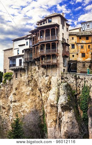 famous hanging houses over cliff in Cuenca. Spain, UNESCO site