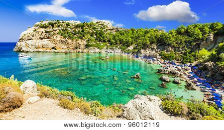 azure beautiful  beaches of Rhodes island, Greece