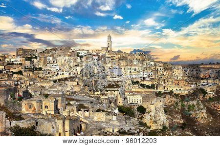 susnet over ancient Matera. Basilicata, Italy