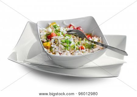 Mixed salad on white background