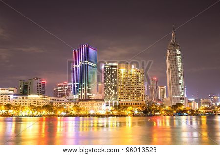 HO CHI MINH CITY, VIETNAM, AUGUST 14 2015: Ho Chi Minh Riverside view colorful night in Sai Gon, Vie