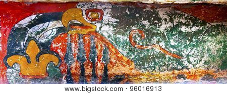 Ancient Bird Painting Mural Wall Indian Ruins Teotihuacan Mexico City Mexico