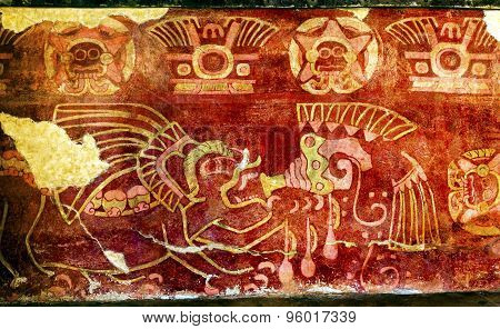 Ancient Painting Drinking Tequila Mural Wall Indian Ruins Teotihuacan Mexico City Mexico