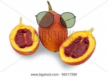 Gac fruit, Baby Jackfruit, Spiny Bitter Gourd With Sun Glasses