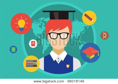 Student and university objects illustration. Education, college or school symbols. Stock design elements.