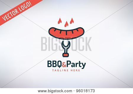 BBQ and Food Vector Logo. Outdoor, Kitchen or Meat symbol. Stock design element