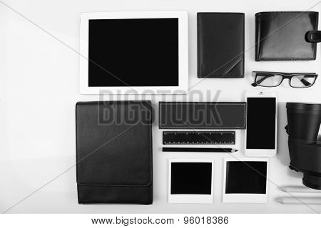 Essentials fashion man objects on light background