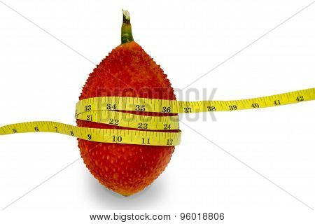 Gac Fruit With Measuring tape diet concept