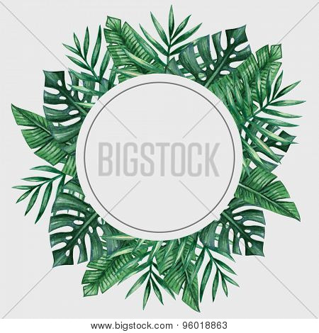 Palm tree leaves round frame. Tropical greeting card