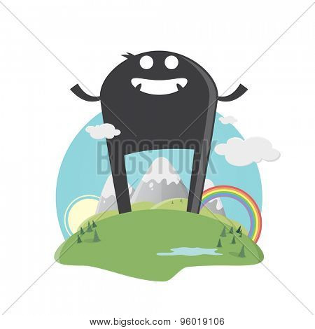 funny cartoon giant with cute landscape