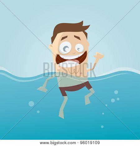 funny cartoon man is swimming