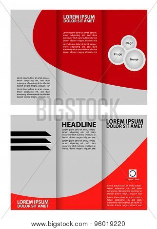 Red tri-fold business brochure template design