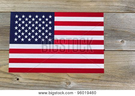 United States Of America Flag On Rustic Wooden Boards