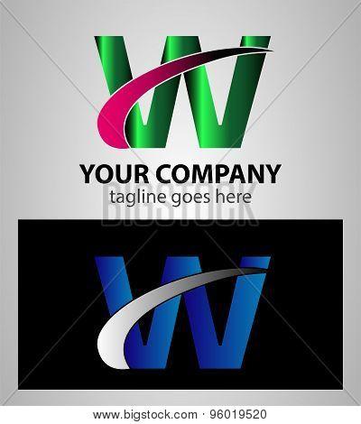 Letter W logo symbol design template elements