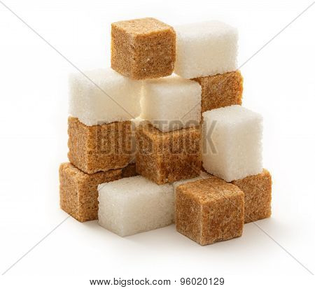Cane And White Sugar Cubes