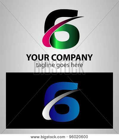 Number one 6 logo icon design template elements