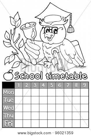 Coloring book timetable topic 4 - eps10 vector illustration.