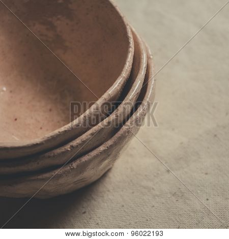 A set of clay bowls
