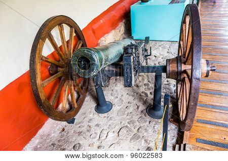 Old canon with wheels from Museum Quinta Simon Bolivar Bogota Colombia