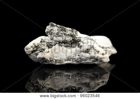 Dolomite Gemstone With Pyrite, Black Background