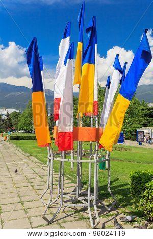 Flag Of Ukraine And Crimea. Yalta. Crimea.