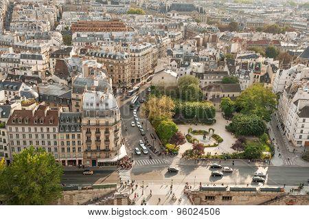 Overview of the Square Rene-Viviani and Quai de Montebello in 5th arrondissement of Paris.