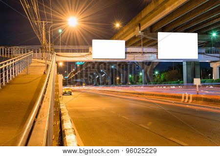 Night Road Long Exposure With Blank Billboard